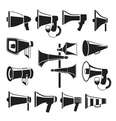 set monochrome pictures of megaphones vector image