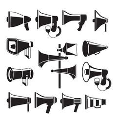 set monochrome pictures of megaphones vector image