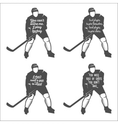 set ofhockey motivational quotes vector image
