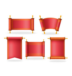 set red scrolls with beautiful ornament and vector image