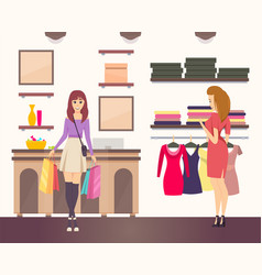 Shopping woman with purchases in paper bags vector