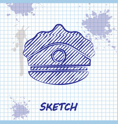 Sketch line police cap with cockade icon isolated vector