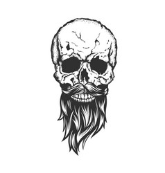 Skull with beard and mustache vector