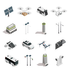 Smart city technology isometric icons set vector