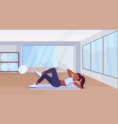Sports woman doing press exercises on mat african vector