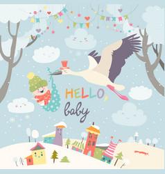 stork bird with baby vector image
