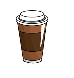 Tasty coffee drink beverage vector