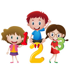 Three children and numbers vector