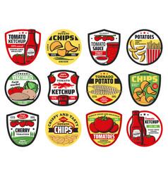 Tomato and potato food icons vector