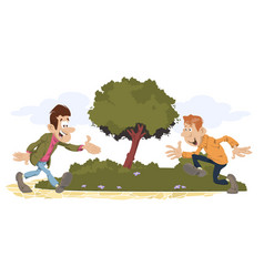 two friends meeting in park vector image