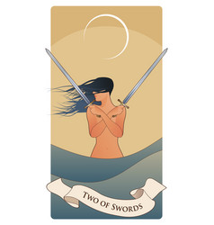 Two swords tarot cards wind-haired woman with vector