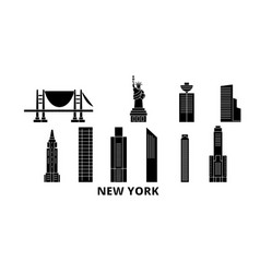 united states new york city flat travel skyline vector image