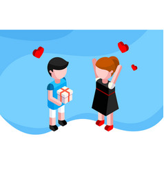 Valentines day isometric concept a couple in love vector