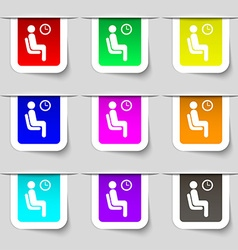 waiting icon sign Set of multicolored modern vector image