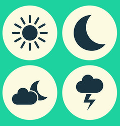 Weather icons set collection of moon lightning vector