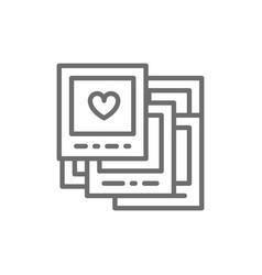 wedding photos polaroids line icon vector image