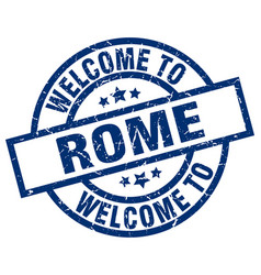 Welcome to rome blue stamp vector