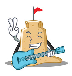 With guitar sandcastle character cartoon style vector