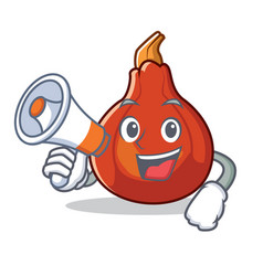 With megaphone red kuri squash character cartoon vector