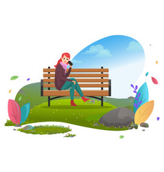 Woman talking telephone on bench in city park vector