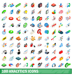 100 analytics icons set isometric 3d style vector image vector image