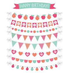 Birthday party decoration set vector