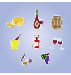 Color set with wine icons vector