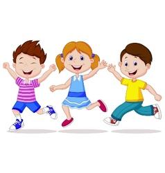 Happy children cartoon running vector image vector image