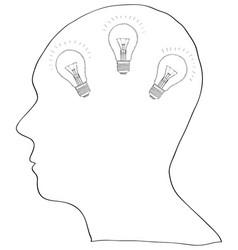 human brain with light bulb for think idea vector image