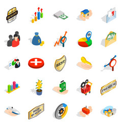 manual icons set isometric style vector image