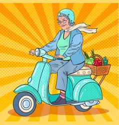 pop art senior woman riding scooter lady biker vector image vector image