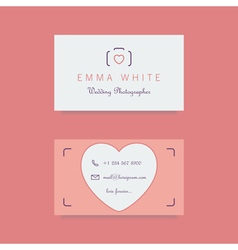 wedding photographer business card template vector image vector image