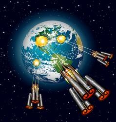 Alien spaceships attacking earth vector