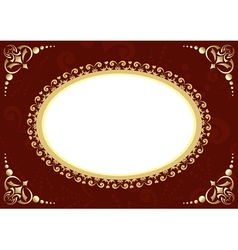 brown card with oval and patter vector image vector image