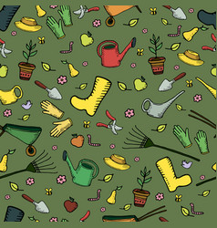 colorful funny cartoon garden seamless pattern on vector image vector image