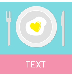 Heart-shaped fried egg Card vector image vector image
