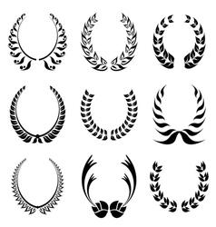 Laureal wreath symbol set vector image