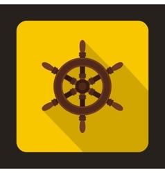 Ship steering wheel icon flat style vector image