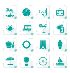 Stylized vacation and holiday icons vector