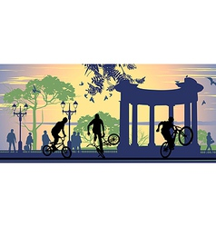 Boys on bicycles vector image