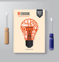 Cover Book Digital Design Template Technology vector image vector image