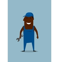 Happy smiling mechanic or repairman with wrench vector image vector image