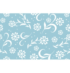 seamless blue floral pattern with circles vector image vector image
