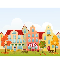 Fall town street vector image vector image