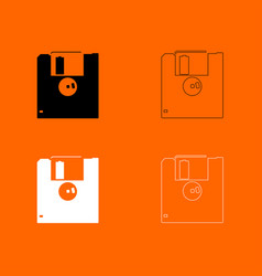 floppy disk black and white set icon vector image