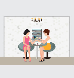 professional woman doing a manicure applying pink vector image vector image