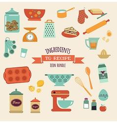 recipe and kitchen design icon set vector image vector image