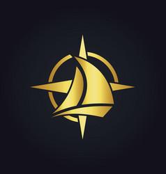 sailing boat star compass gold logo vector image vector image