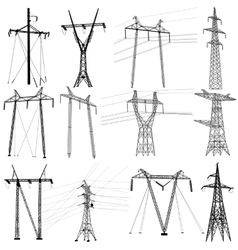 Set electricity transmission power lines vector image