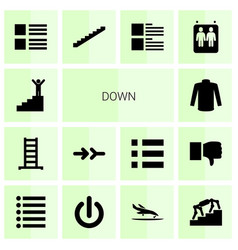 14 down icons vector